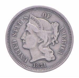 ***3***THREE***Cent*** 1871 - 3 Cent Piece Copper Nickel - Neat *277