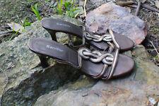 SANDLER Leather Bronze /Silver Sandals 7 cm Kitten Heels Size 7.5 / 25 cm
