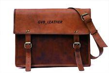 Men's Very Unique Vintage Leather Messenger Laptop Briefcase Satchel Brown Bags