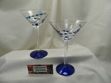 Gorham Crystal Jewels Cobalt Blue Foot Martini Glass Retired Set of Two