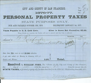 Antique 1876 San Francisco California City & County Tax Return Payable in GOLD