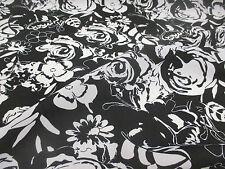 Negro Y Blanco Abstracto Estampado Floral Vestido De Verano tela 147cm Ancho