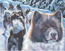 "Greenland Dog art canvas PRINT of lashepard painting 8x10"" sled dog art"
