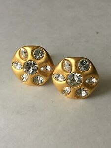 Givenchy Double Signed Earrings Clips Brushed Gold Crystals Vintage Runway Rare