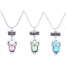 Friendship Three Pink Blue Green Owls Pendant Necklaces Gift for Friend N542