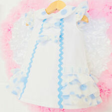 *SALE* Stunning Wee Me Baby Girl White Spanish Dress Blue Organza Details