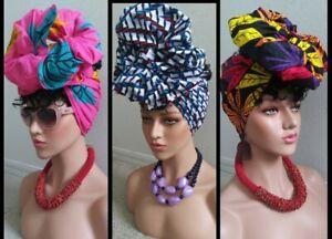 "African print Wax head Tie, Head Wrap, Scarf, Turban 70'X15""  multicolor"