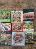 HUGE Lot of (9) Jigsaw Puzzles 500-550 pieces (Animals, Farm, Country) Buffalo