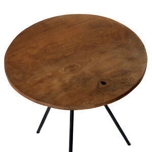 Side Table from Teakwood With Metal Frame Table Top Round Sofa Table Teak