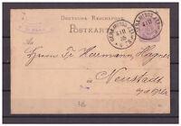 Deutsches Reich, Ganzsache P 10 Freiburg nach Neustadt a. d. Orla 04.11.1885