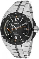 Seiko Men's SRG005 Sportura Stainless Steel Black Dial Silver Watch