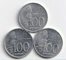 3 DIFFERENT 100 RUPIAH COINS w/ BIRD from INDONESIA (1999, 2000 & 2001)