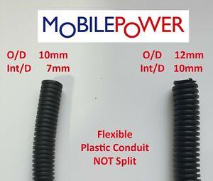 10mm or 12mm black flexible plastic conduit by the metre NOT split