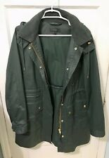 J Crew Womens Coat Long Downtown Field Jacket  XL Green Zip Up Hooded Drawstring