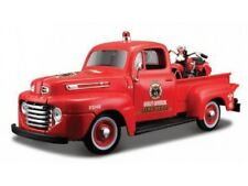 MAISTO 32191R 1:24 FORD F1 PICKUP FIRE DEPT & HARLEY DAVIDSON EL KNUCKLEHEAD TOY