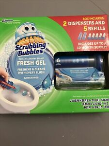 Scrubbing Bubbles Toilet Cleaning Fresh Gel 2 Dispensers and 5 refills New