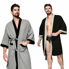 Men's Cotton Waffle Lounge Bathrobe Nightwear Kimono Short Bath Robe Sleepwear