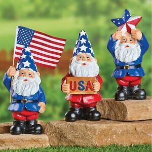 Set of 3 4th of July American Pride Uncle Sam Garden Gnome Statues