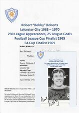 BOBBY ROBERTS LEICESTER CITY 1963-1970 ORIGINAL HAND SIGNED BOOK CUTTING
