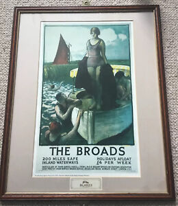 Vintage Gerald Spencer Pryse (1882-1956) THE BROADS Framed lithograph Circa 1925