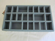 Antique display wall box. Old? blue paint. 21 cubbies different sizes. .