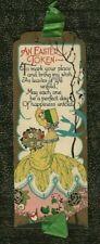 Vintage ART DECO EASTER CARD BOOKMARK Hooped Skirt Woman FLOWERS Silk Ribbon