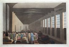 CLOTH HALL, LEEDS, COSTUME OF YORKSHIRE, G.Walker original antique print 1814