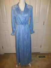 Vintage Sentiments Blue Peignoir Nightgown Matching Robe Lace Bodice Size M
