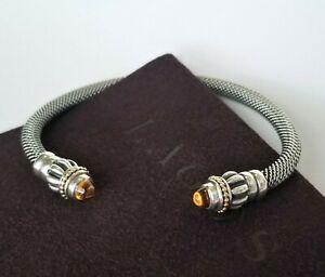 LAGOS 18K Gold & Sterling Silver Caviar Cuff Bracelet with Orange Citrine - MINT