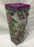 """AMIA Stained Glass Vase Dragonfly Butterfly Flowers Hand Painted 10"""" Excellent!!"""