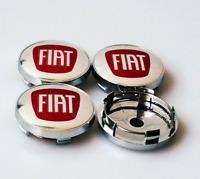 4 x 60mm Fiat Logo Silber Rot Chrome Alufelge Nabenkappen Nabendeckel Satz