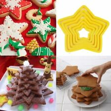6pcs Star Shaped Christmas Tree Biscuit Cookie Cutter Cake Decor Baking Mould