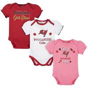 Tampa Bay Buccaneers Girl Onesie Bodysuit 3 Pk - Gerber NFL Newborn 3-6m