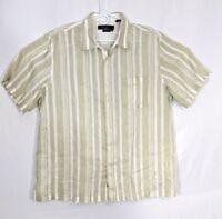 Nat Nast Mens Silk Short Sleeve Button Down Linen Geometric Size XL