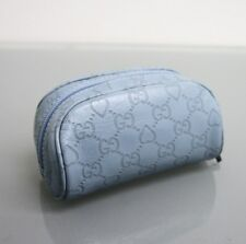 NEW GUCCI Leather Guccissima GG Heart Makeup Case Cosmetic Bag Blue 277652 4704
