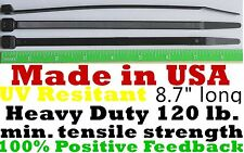 """Cable Zip Ties 100pcs Heavy Duty 120lb 8"""" Uv Resistant Black - Made in the Usa"""