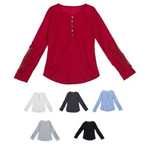 Women Shirts Button Lace Sleeve Long Sleeve Plus Size Skinny