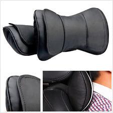 2 Pcs Black Genuine Leather Double Layer Car Seat Headrest Neck Rest Pillows Mat