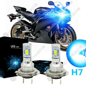 Blue H7 LED Headlight Bulb Hi/L Beam BY For Yamaha YZF R1 2007-14 YZF R3 2015-17