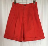 Eddie Bauer Womens Size 6P Petite Red Pleated Front Cotton Cuffed Bermuda Shorts