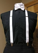 Matching bowtie and suspenders set Men's clip-on x back and Retro Costume longer