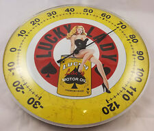LUCKY LADY MOTOR OIL RISQUE DRESSED WOMAN IN LINGERIE DOME SHAPED THERMOMETER