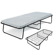 Folding Single Guest Bed Mattress Compact Metal Fold Away Visitor Bed