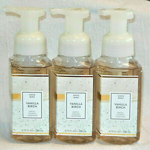 Bath Body Works VANILLA BIRCH Gentle Foaming Hand Soap w/ Essential Oil  X 3