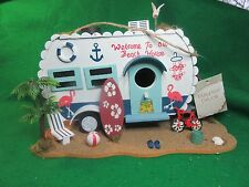 Decorative Wood Camping Trailer Birdhouse With All The Trimmings