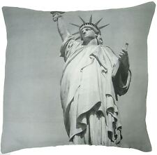 "FILLED STATUE OF LIBERTY NEW YORK AMERICA USA BLACK MULTI 18"" CUSHION COVER"