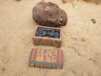 Rare Antique Ancient Egyptian Wood Ushabti Box 23 Scarabs + 1 Ushabti 2480 BC