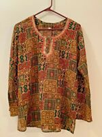 PALIKA BAZAAR India Womens Blouse Semi Sheer Red Green Hand Embroidered Trim