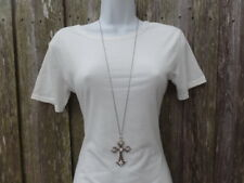 Silver Pendant Cross Necklace Inch Fashion Chain Gift Women Clear Stones New