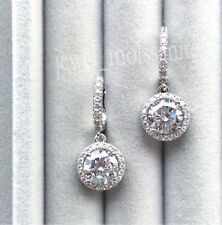 Drop Halo Earring 2.68 Ct Near White Moissanite 925 Sterling Silver